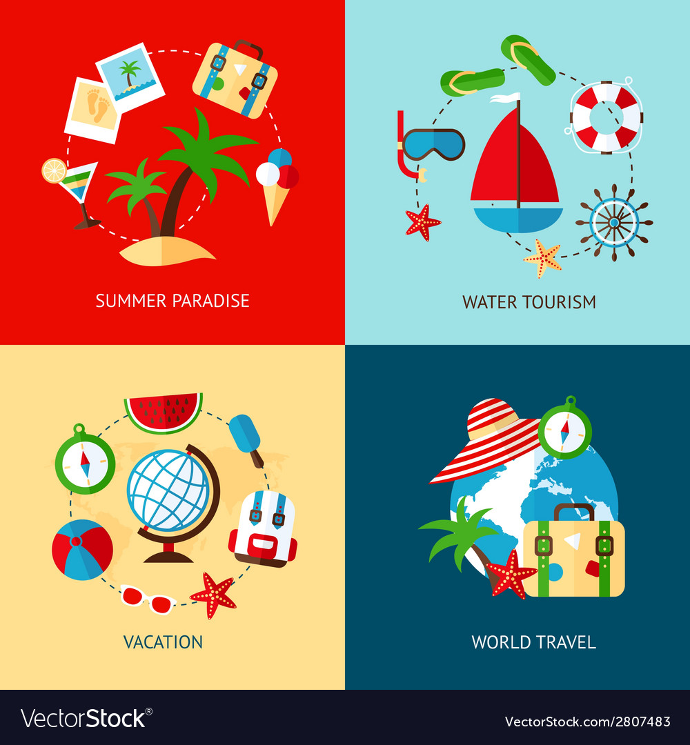 Holiday icons flat set vector | Price: 1 Credit (USD $1)