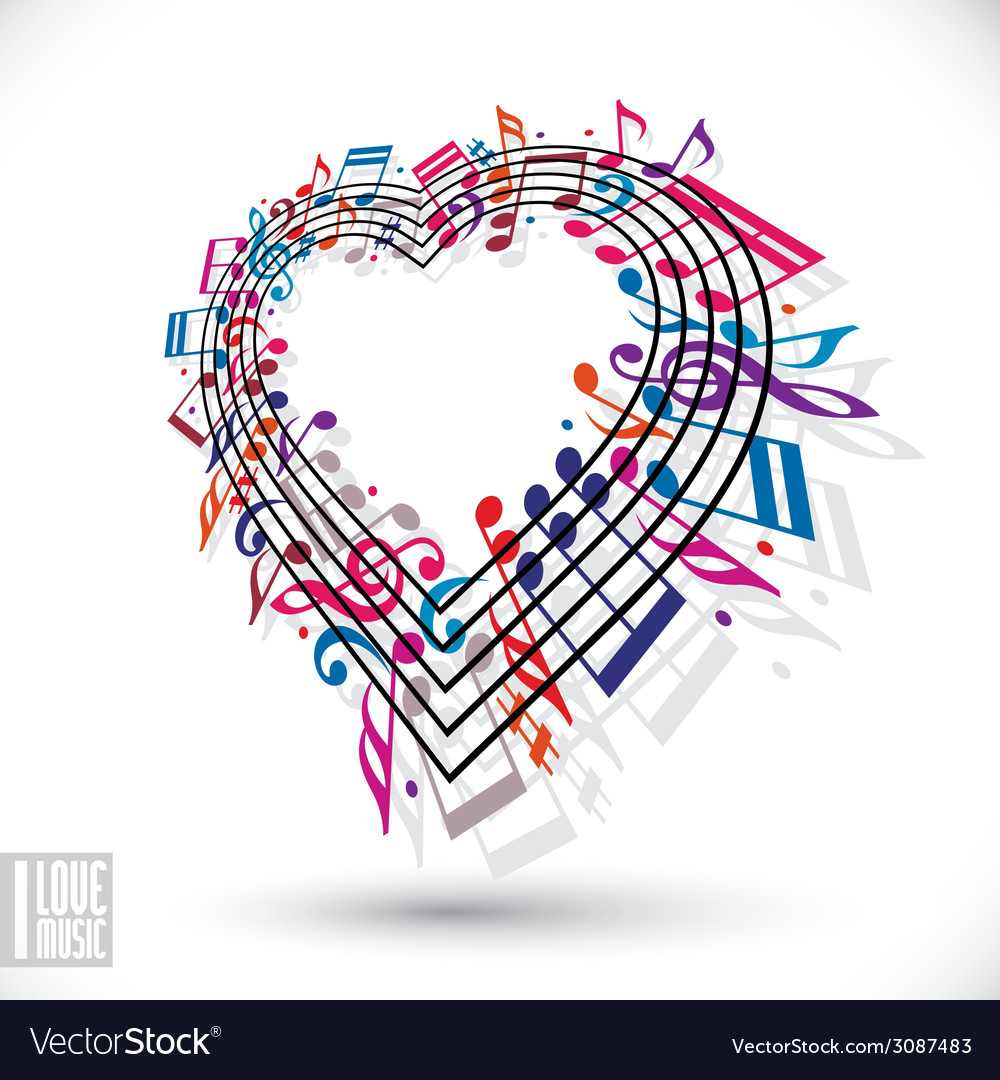 I love music concept heart made with musical notes vector | Price: 1 Credit (USD $1)