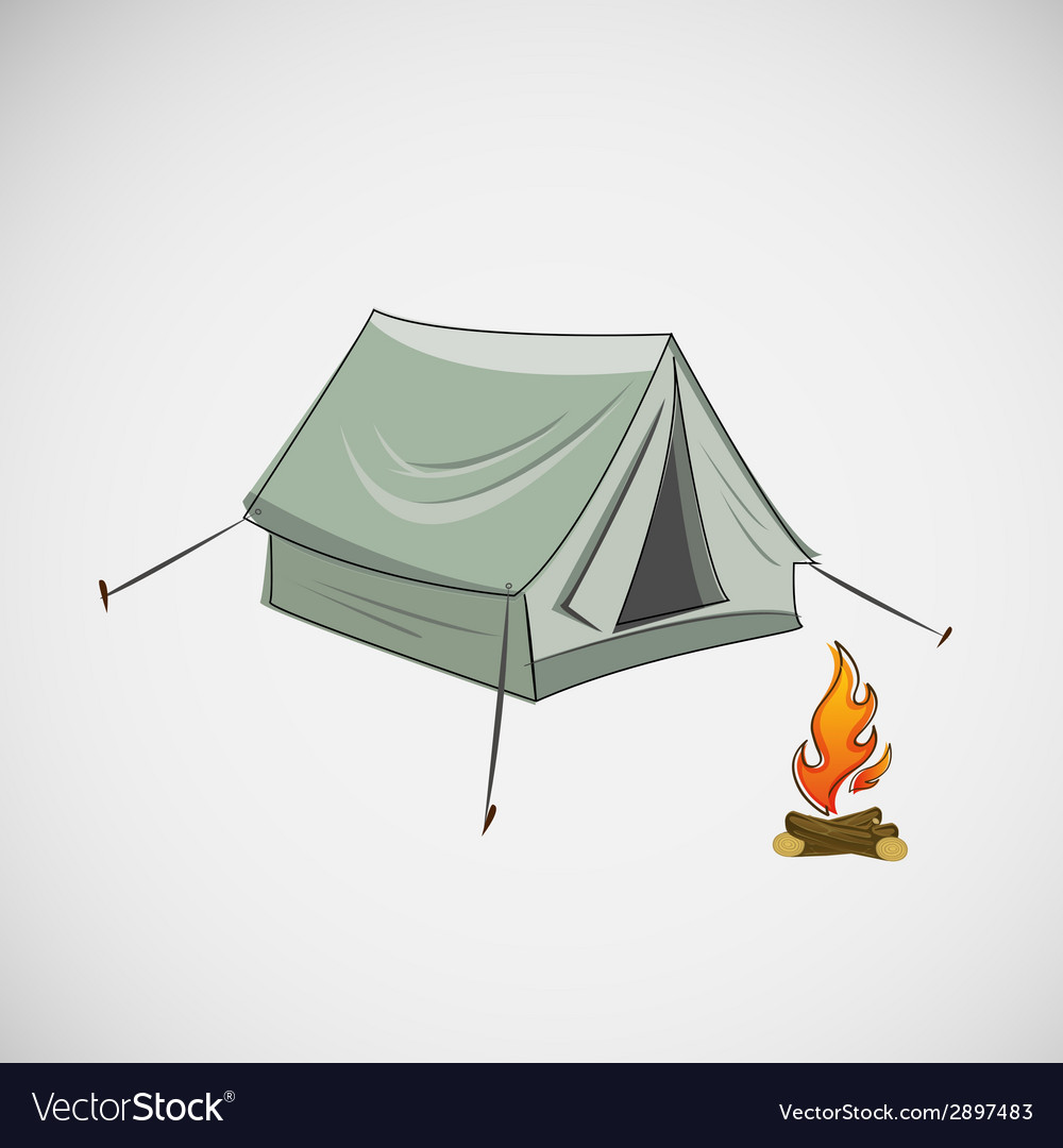 Stock tent and a bonfire on light background vector | Price: 1 Credit (USD $1)