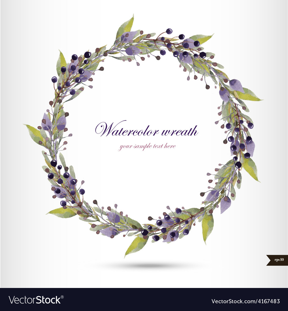 Watercolor wreath with flowersfoliage and branch vector   Price: 1 Credit (USD $1)