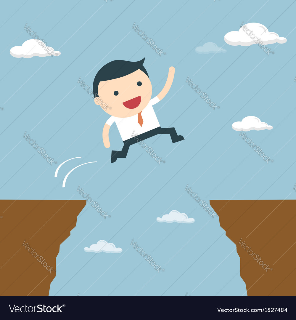 Businessman jumping over the cliff to goal vector | Price: 1 Credit (USD $1)