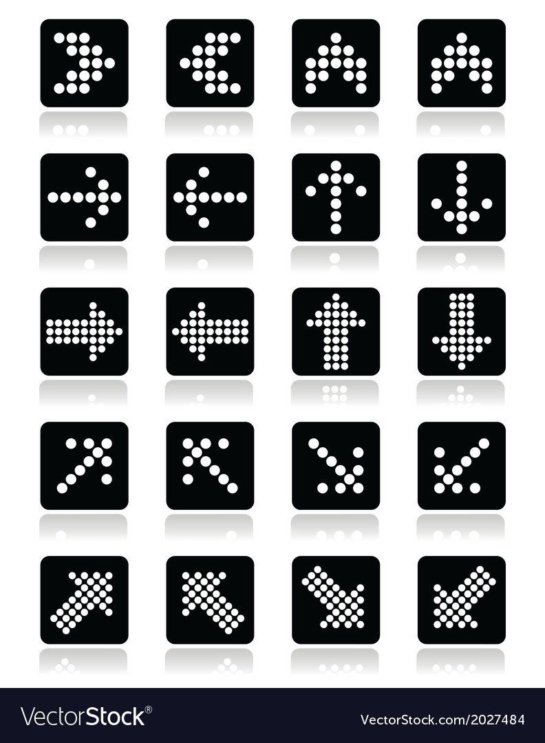 Dotted arrows on black square icons set isolated o vector | Price: 1 Credit (USD $1)