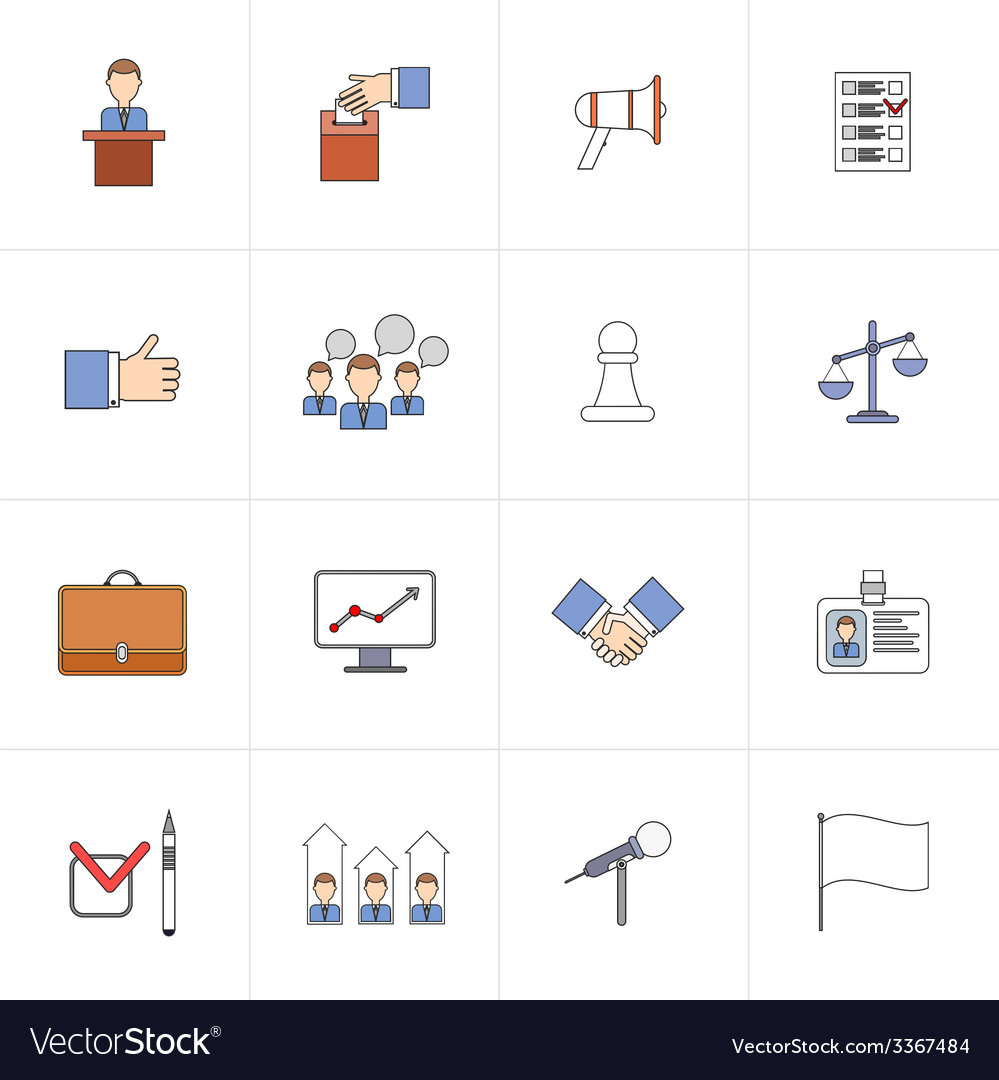 Elections icons set flat line vector | Price: 1 Credit (USD $1)