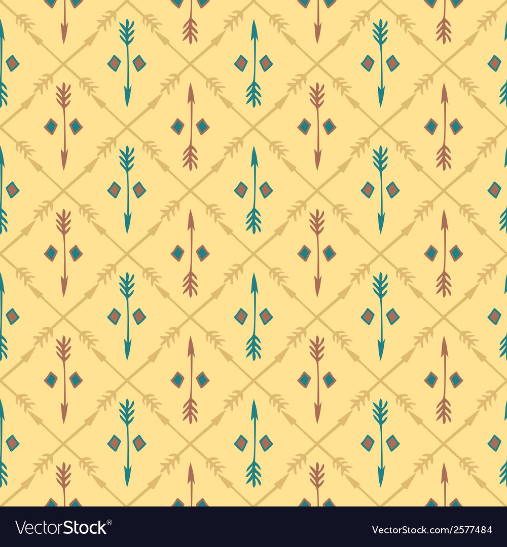Ethnic colorful seamless pattern with arrows hand vector | Price: 1 Credit (USD $1)