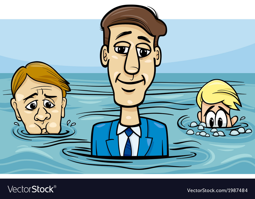 Head above water saying cartoon vector | Price: 1 Credit (USD $1)