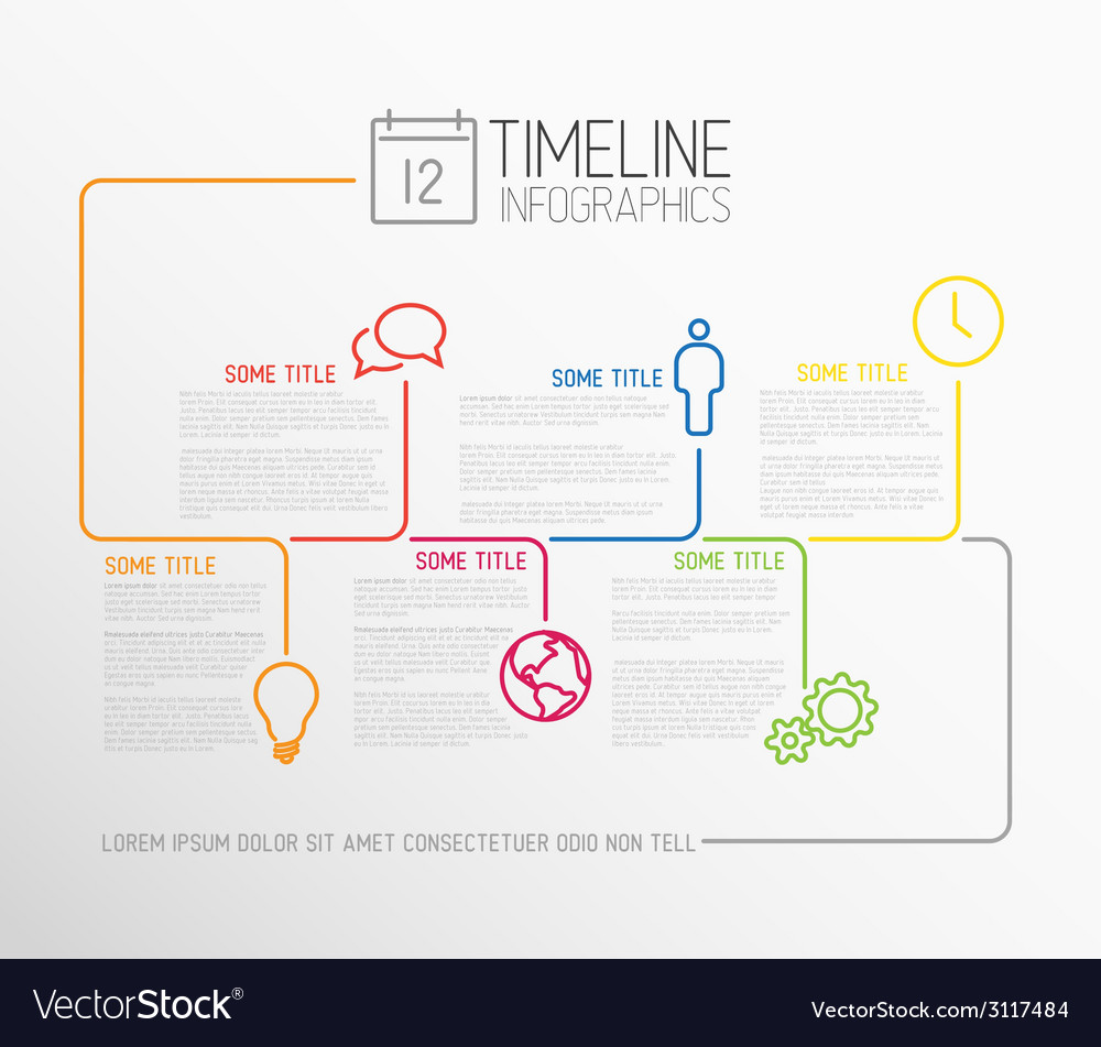 Infographic timeline report template with lines vector | Price: 1 Credit (USD $1)