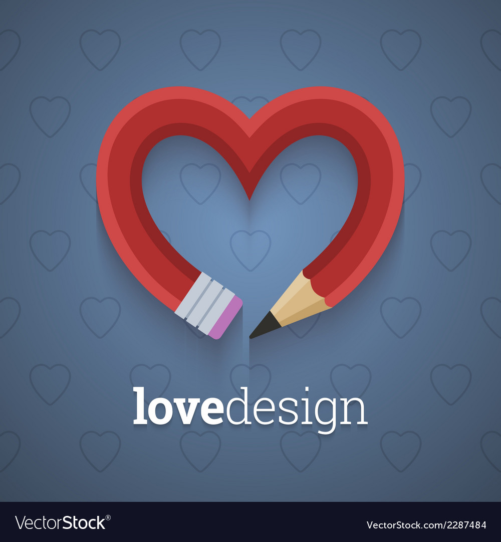 Pencil in the shape of heart vector | Price: 1 Credit (USD $1)