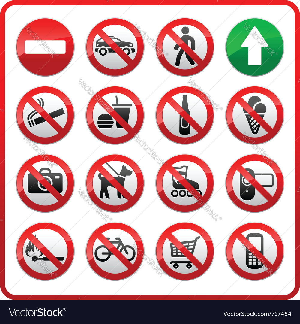 Prohibited set symbols vector | Price: 1 Credit (USD $1)