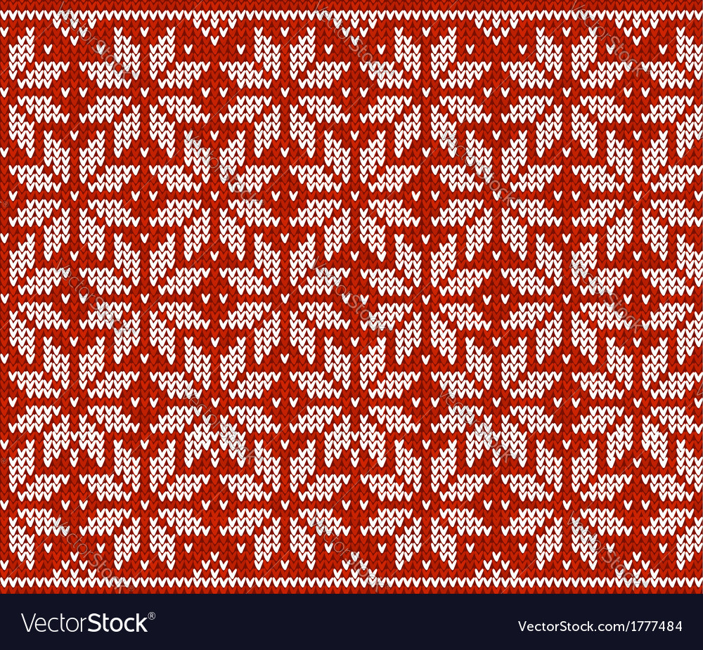 Red and white knitted snowflakes seamless pattern vector   Price: 1 Credit (USD $1)