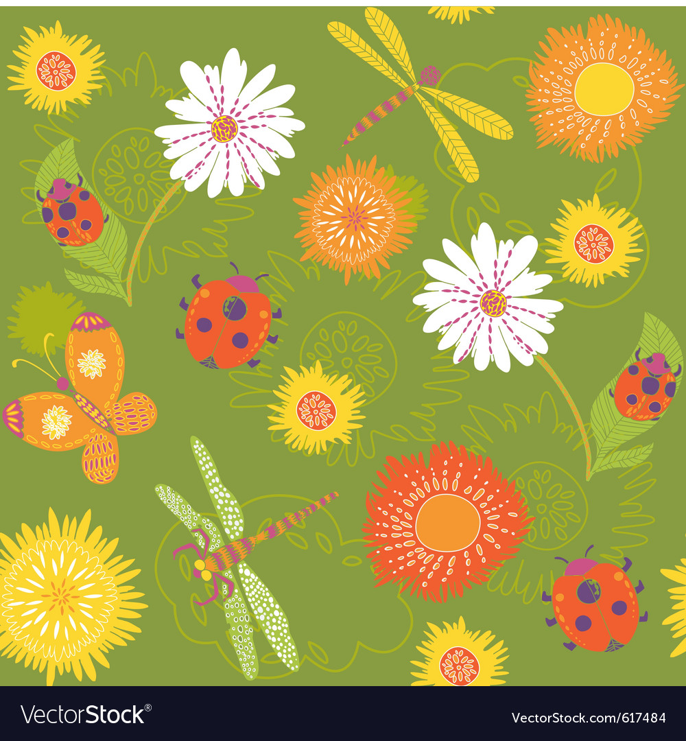 Summer floral pattern vector   Price: 1 Credit (USD $1)