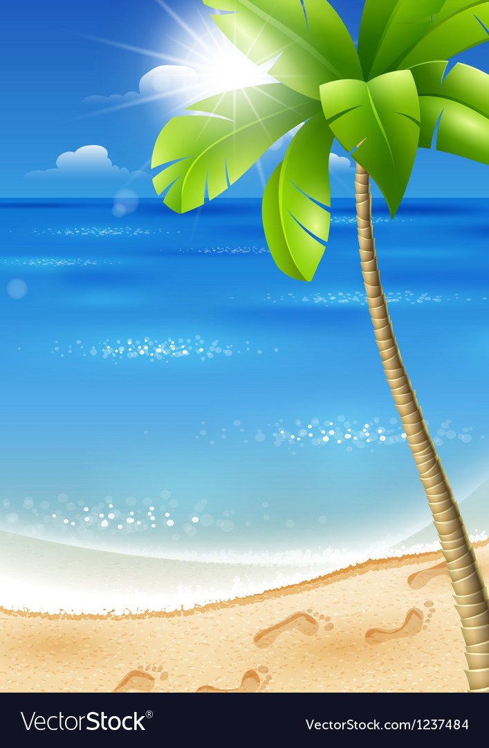 Tropical beach with palm tree vector | Price: 3 Credit (USD $3)