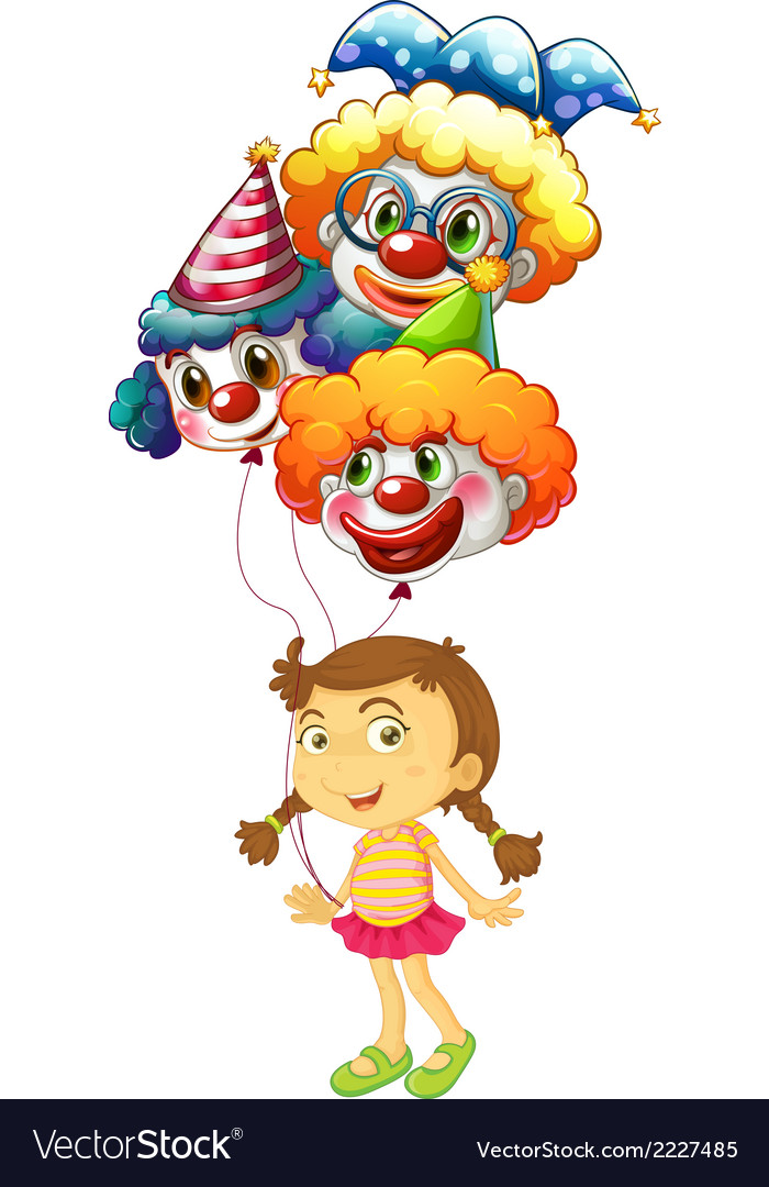 A young girl holding three clown balloons vector | Price: 1 Credit (USD $1)