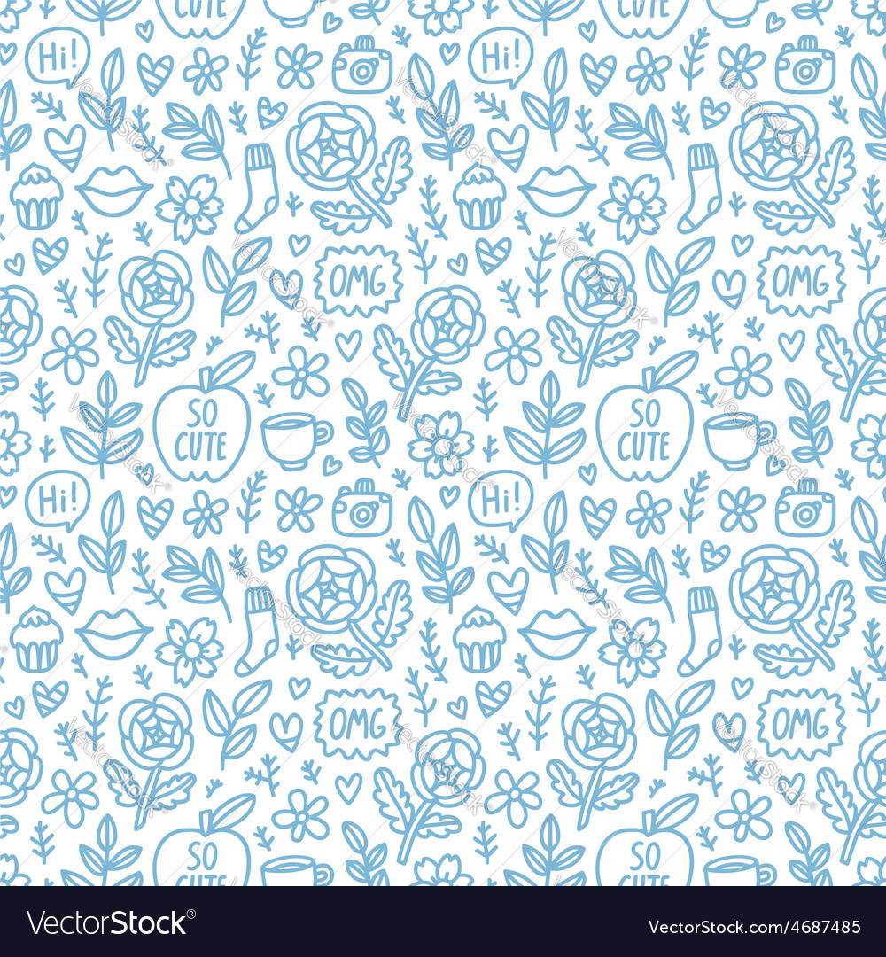 Abstract things doodle pattern vector | Price: 1 Credit (USD $1)