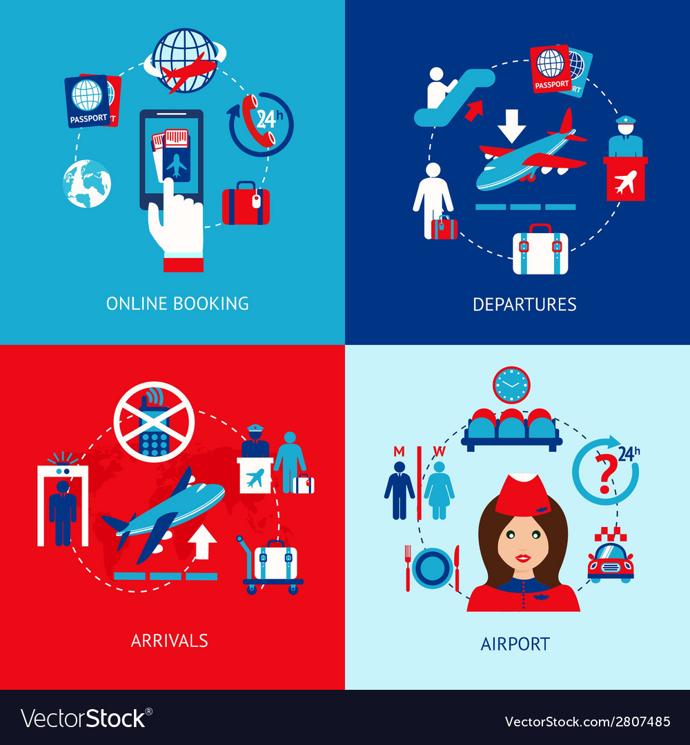 Airport icons flat set vector | Price: 1 Credit (USD $1)
