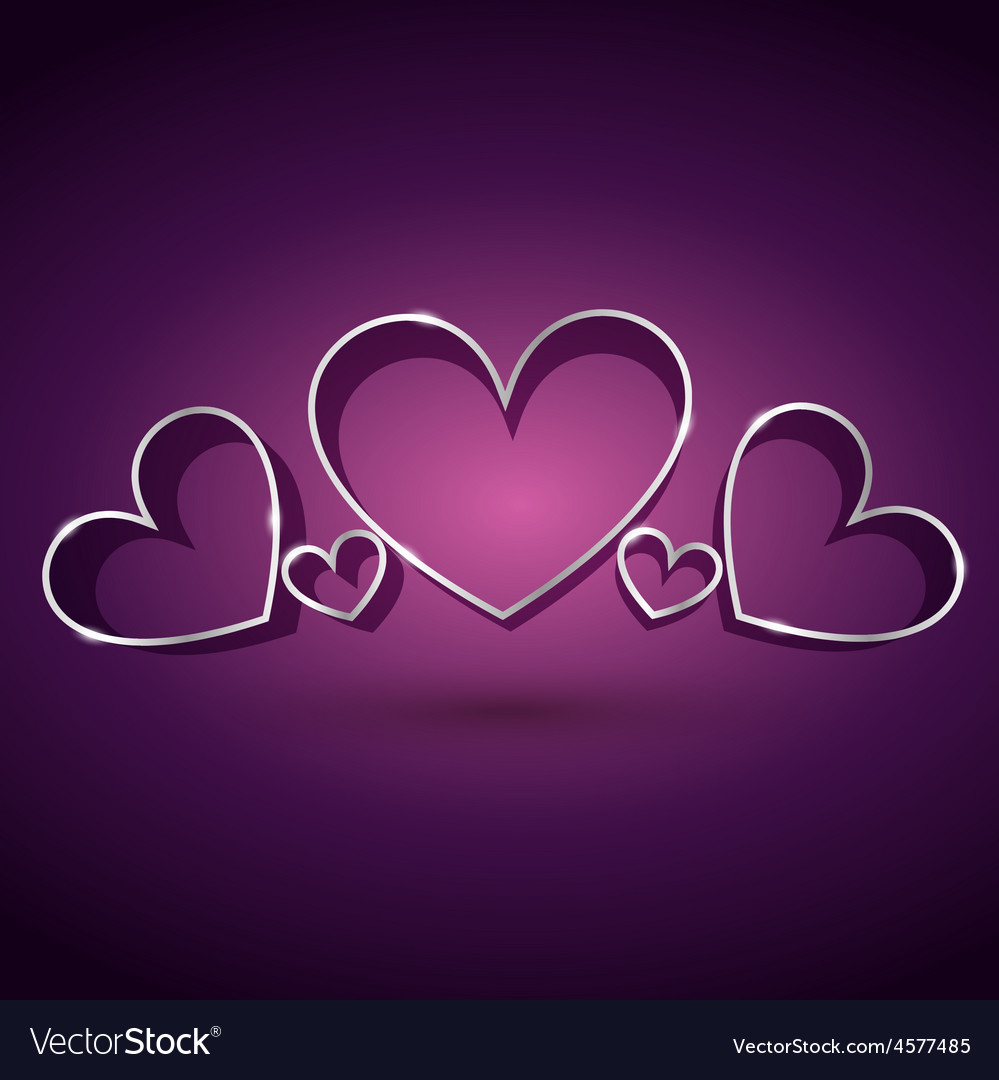 Attractive heart background in purple background vector | Price: 1 Credit (USD $1)