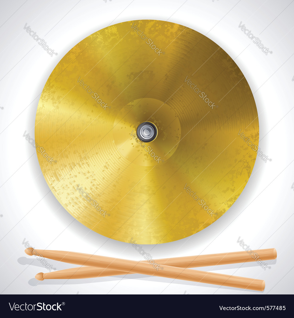 Brass cymbals and drumsticks vector | Price: 3 Credit (USD $3)