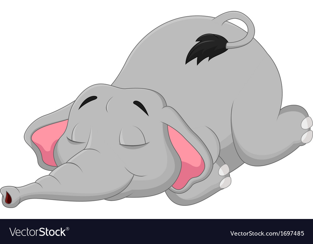 Cartoon elephant sleeping vector | Price: 1 Credit (USD $1)