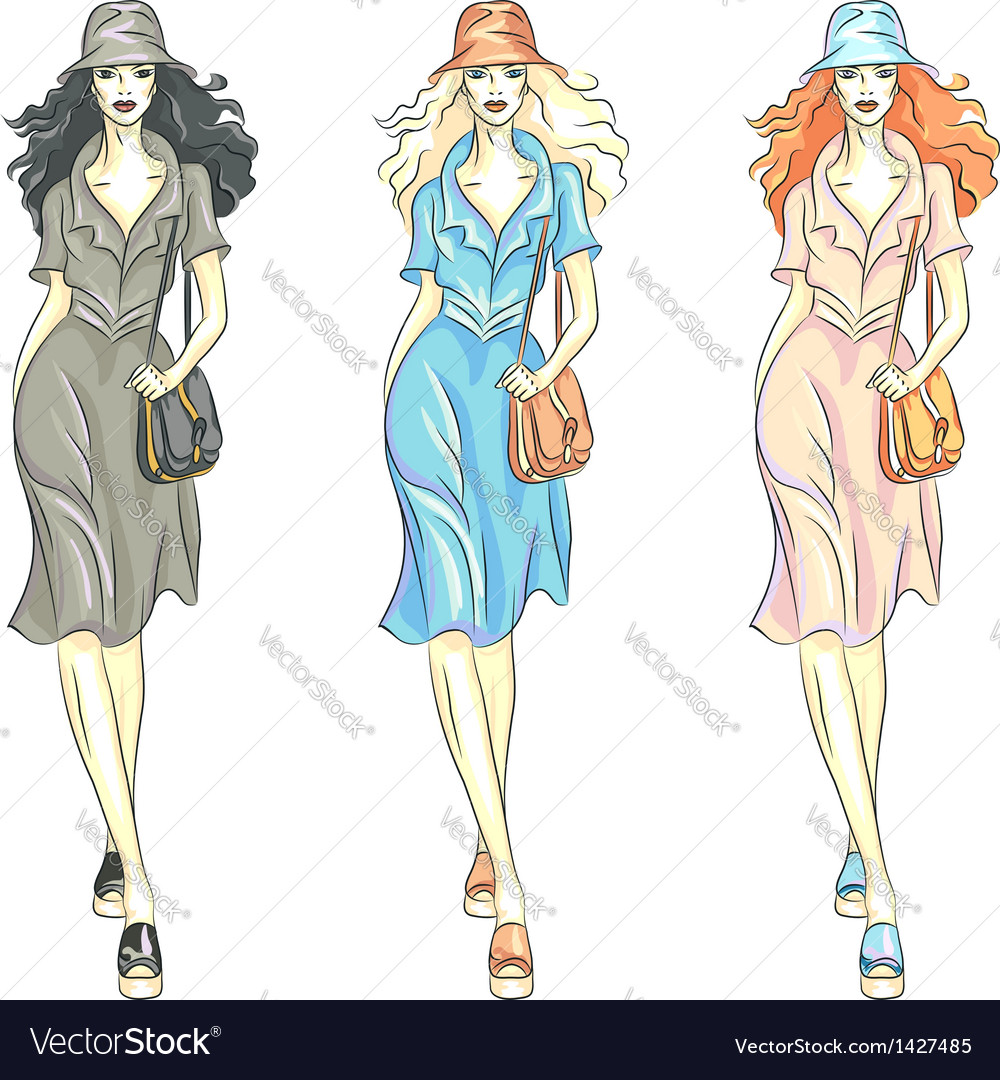 Fashion girls top models vector | Price: 1 Credit (USD $1)