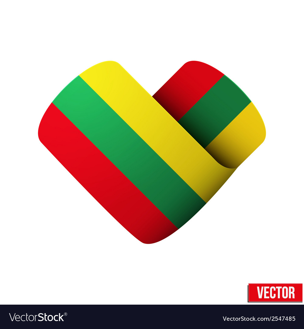 Flag icon in the form of heart i love lithuania vector | Price: 1 Credit (USD $1)