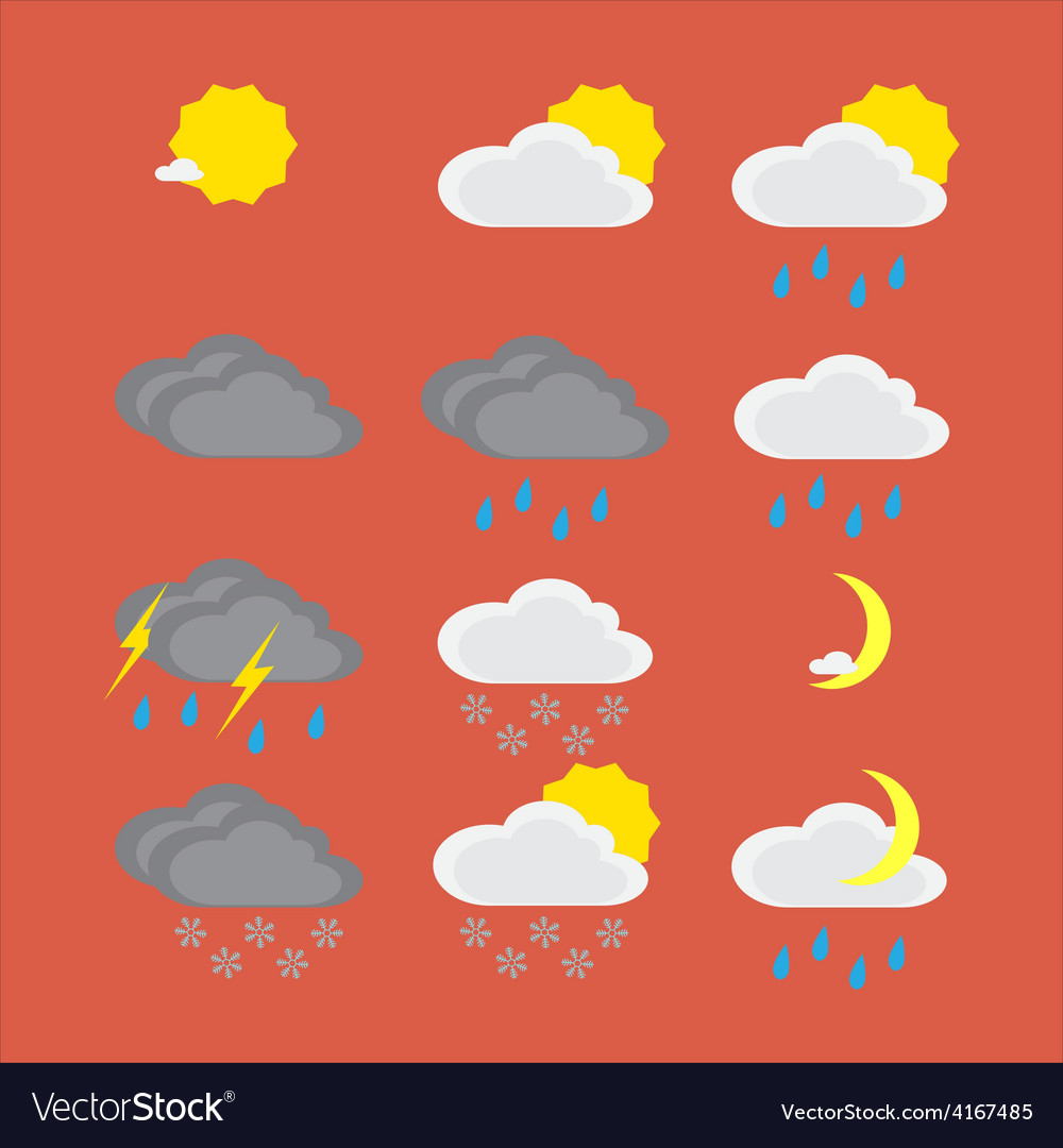 Flat color weather icons vector | Price: 1 Credit (USD $1)