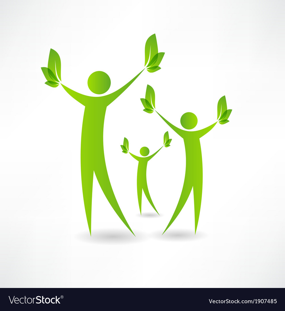 Group of people holding green leaves in the hands vector | Price: 1 Credit (USD $1)
