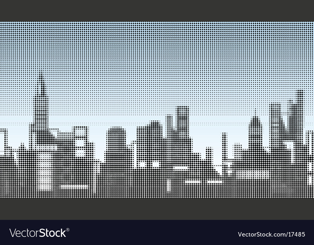 Halftone skyline vector | Price: 1 Credit (USD $1)