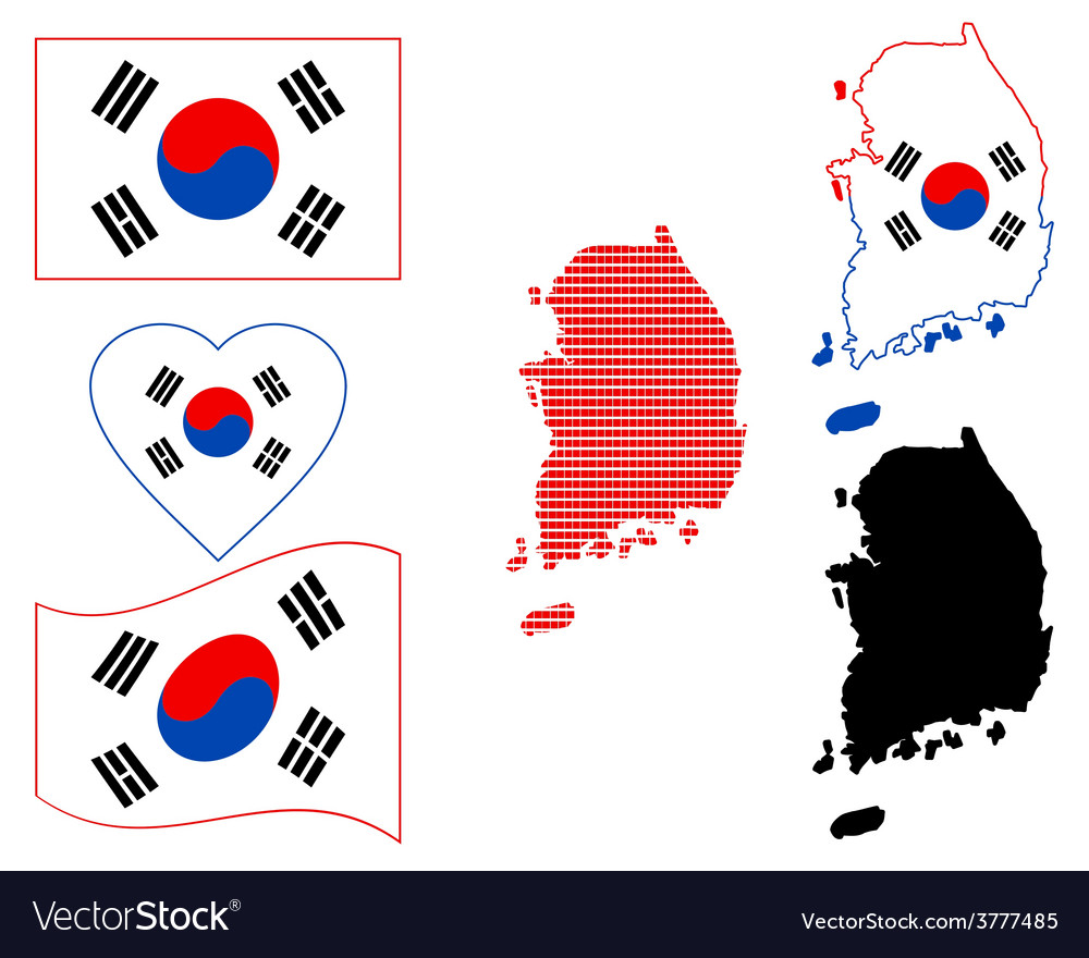 Map of south korea vector | Price: 1 Credit (USD $1)