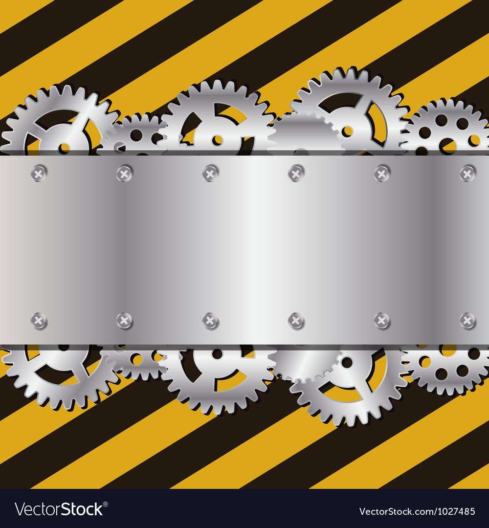 Metal frame on grunge striped cunstruction vector | Price: 1 Credit (USD $1)