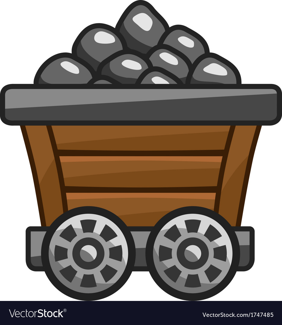 Mine cart with coal vector | Price: 1 Credit (USD $1)