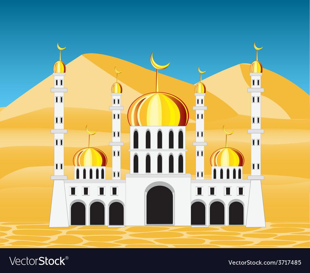 Mosque in desert vector | Price: 1 Credit (USD $1)
