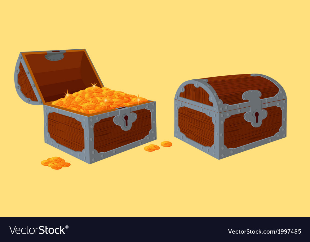 Opened and closed chests with treasure vector | Price: 1 Credit (USD $1)