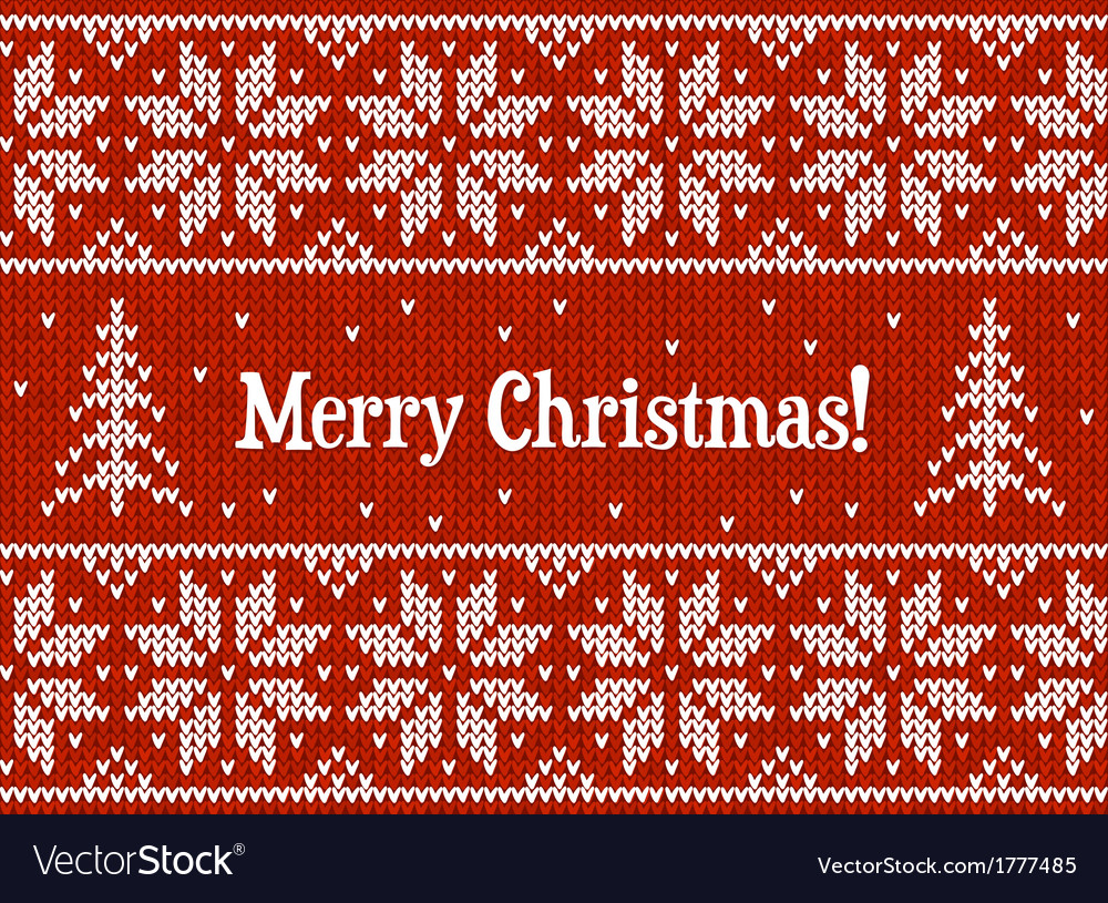 Red and white christmas knit greeting card vector | Price: 1 Credit (USD $1)