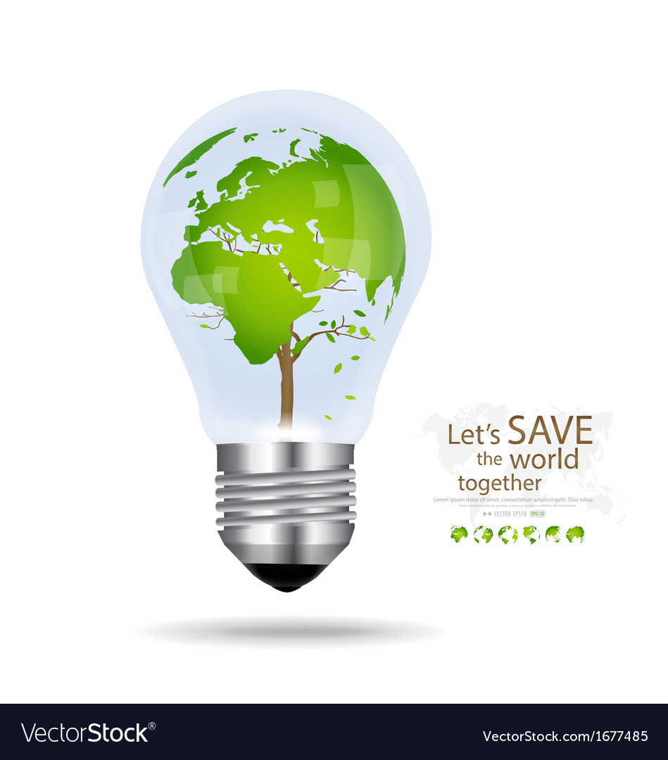 Save the world light bulb with tree shaped world vector | Price: 1 Credit (USD $1)