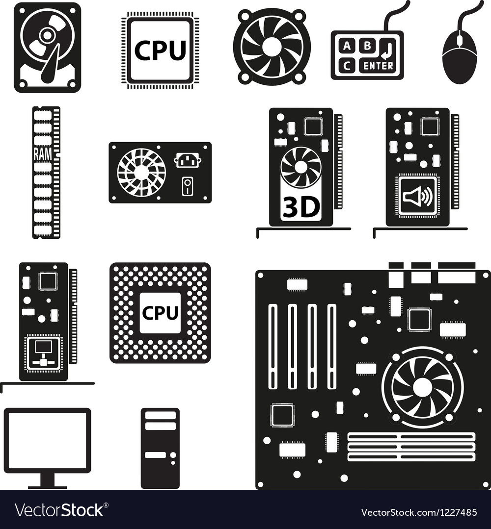 Set of computer hardware icons vector | Price: 1 Credit (USD $1)