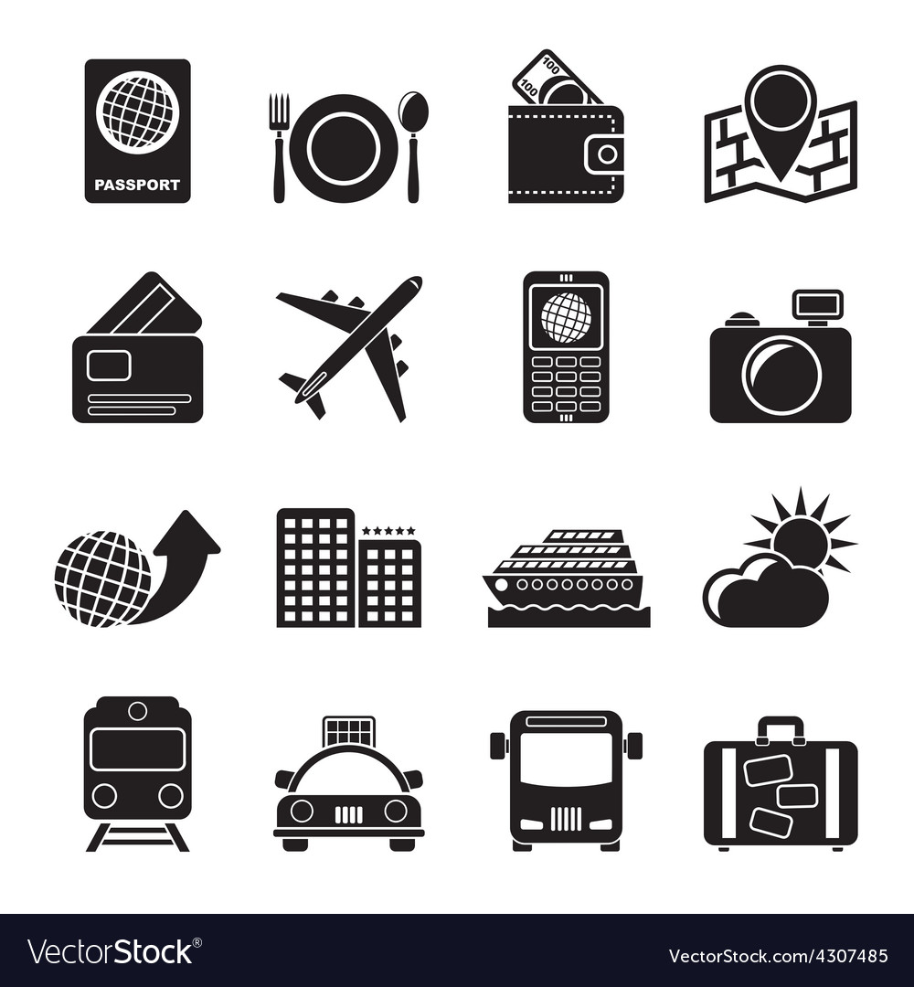 Silhouette travel transportation and vacation vector | Price: 1 Credit (USD $1)