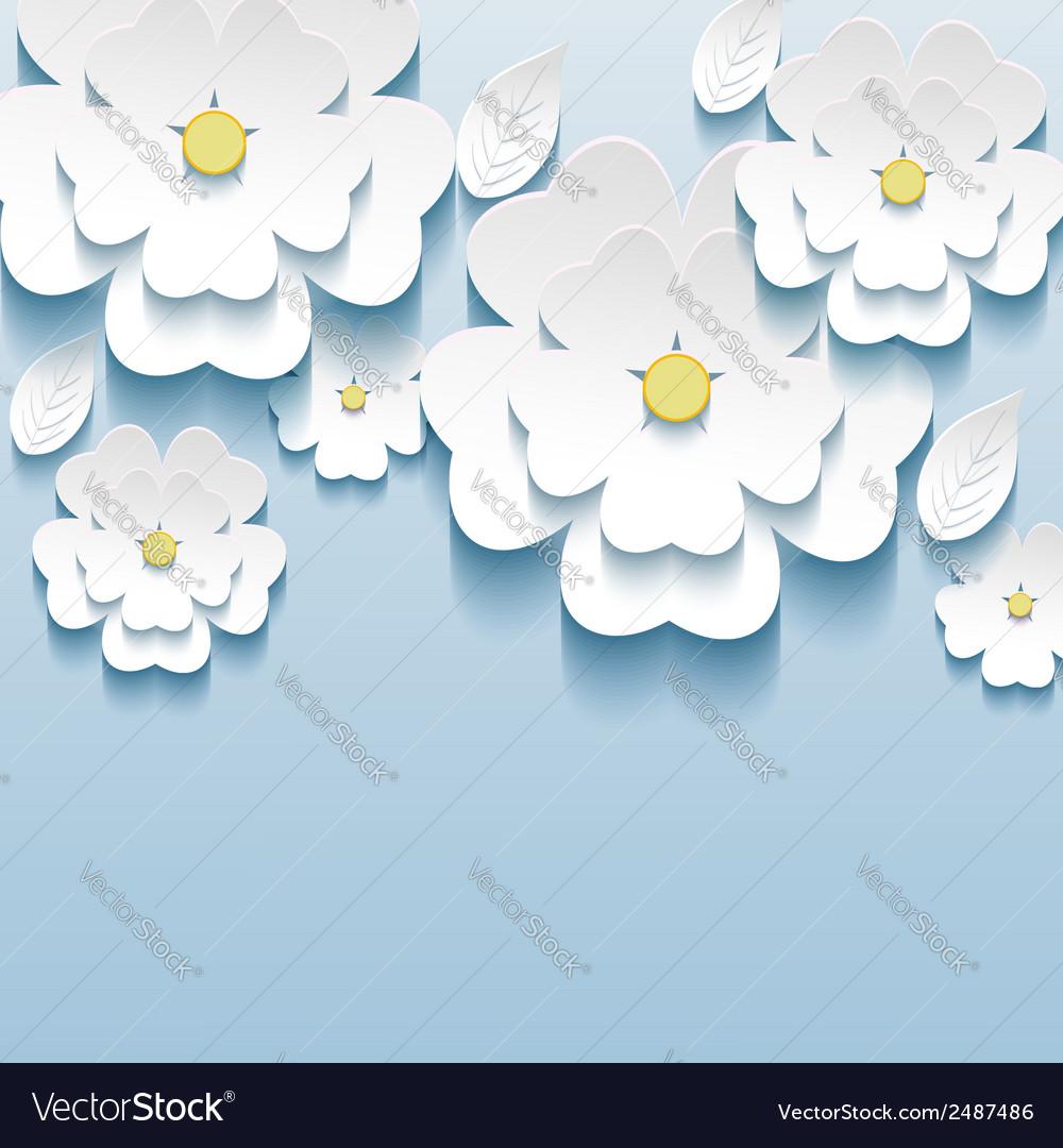 3d flowers sakura wallpaper vector