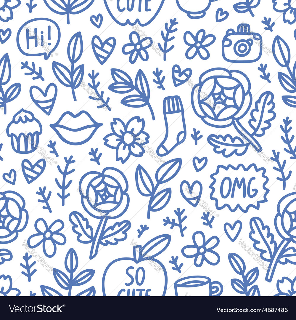 Abstract things doodle seamless pattern vector | Price: 1 Credit (USD $1)