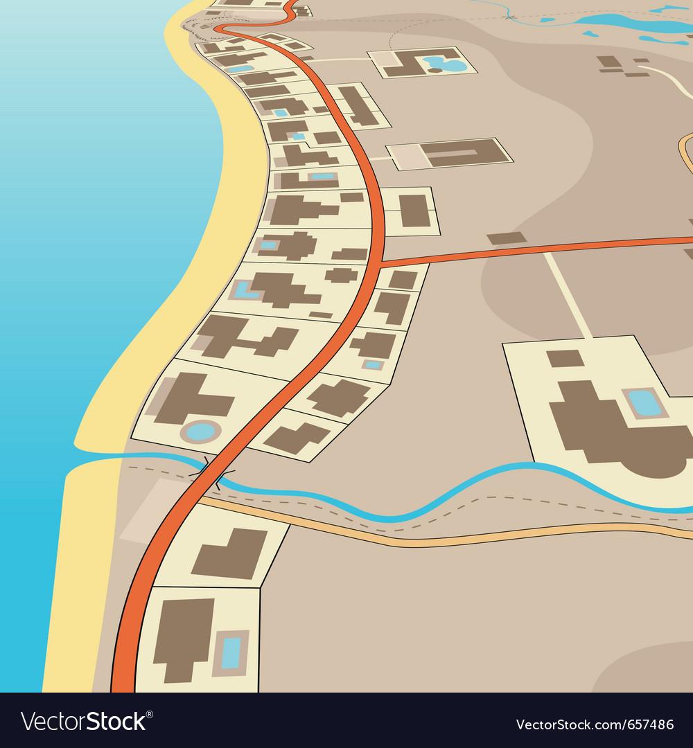 Angled beachfront vector | Price: 1 Credit (USD $1)