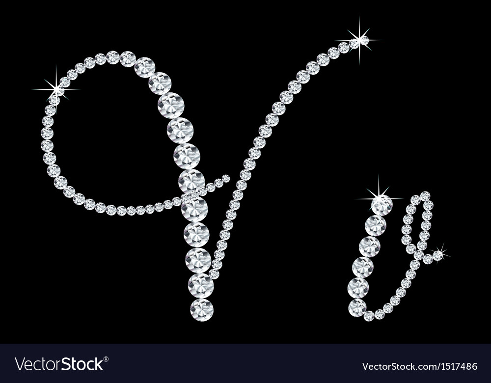 Diamond alphabetic letters of v vector | Price: 1 Credit (USD $1)