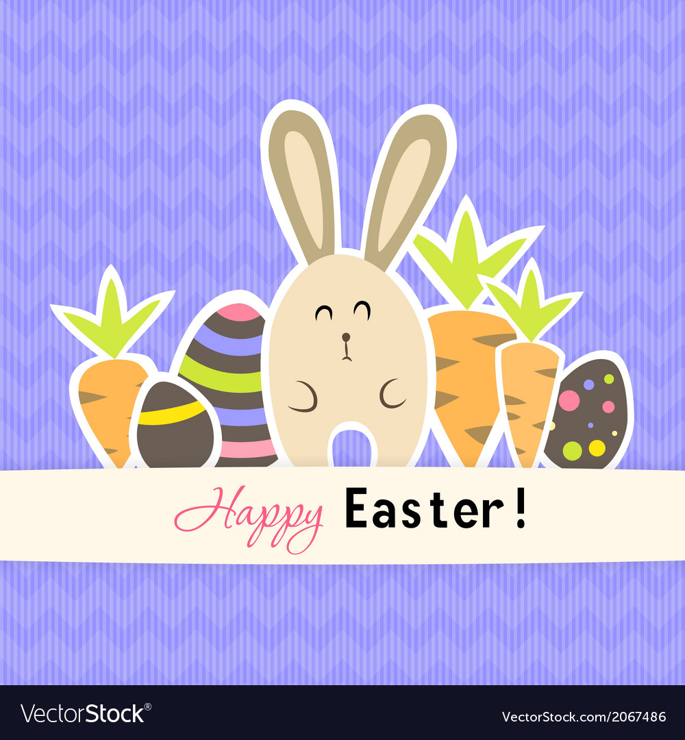 Easter purple card with carrots and rabbit vector | Price: 1 Credit (USD $1)