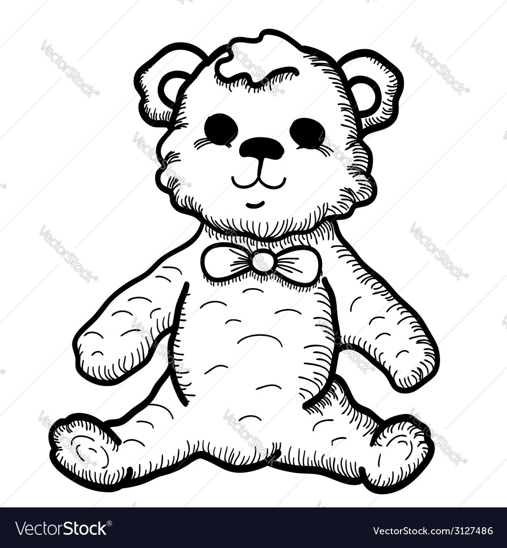 Hand drawn teddy bear vector   Price: 1 Credit (USD $1)