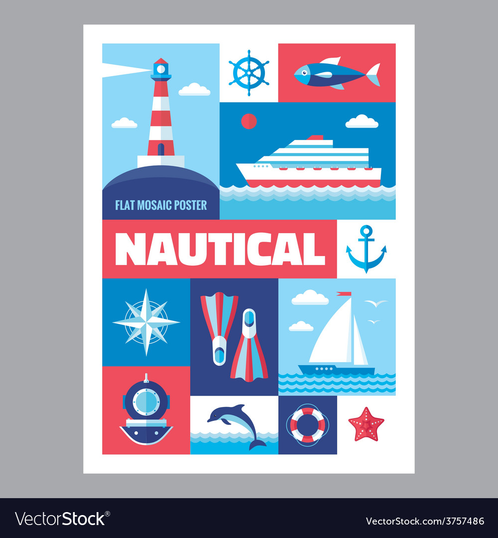 Nautical - poster with icons in flat design vector   Price: 1 Credit (USD $1)
