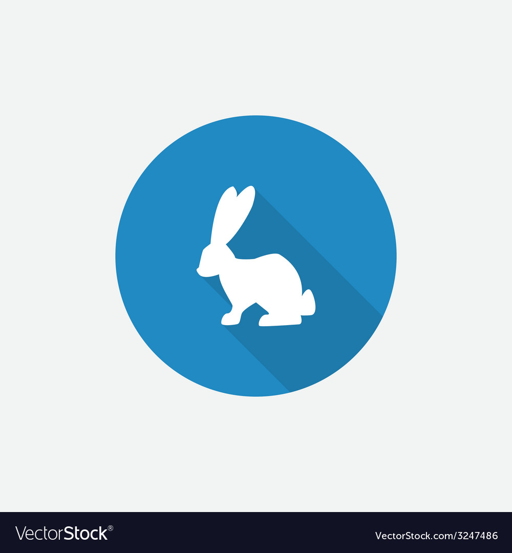 Rabbit flat blue simple icon with long shadow vector | Price: 1 Credit (USD $1)