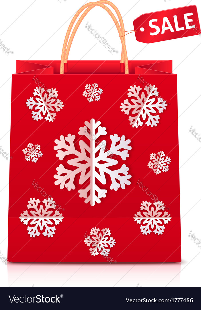 Red christmas shopping bag with paper snowflakes vector | Price: 1 Credit (USD $1)