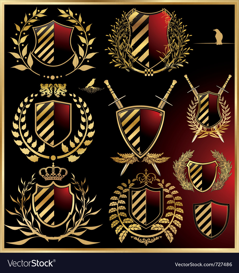 Set of the black shields with golden laurel vector | Price: 1 Credit (USD $1)