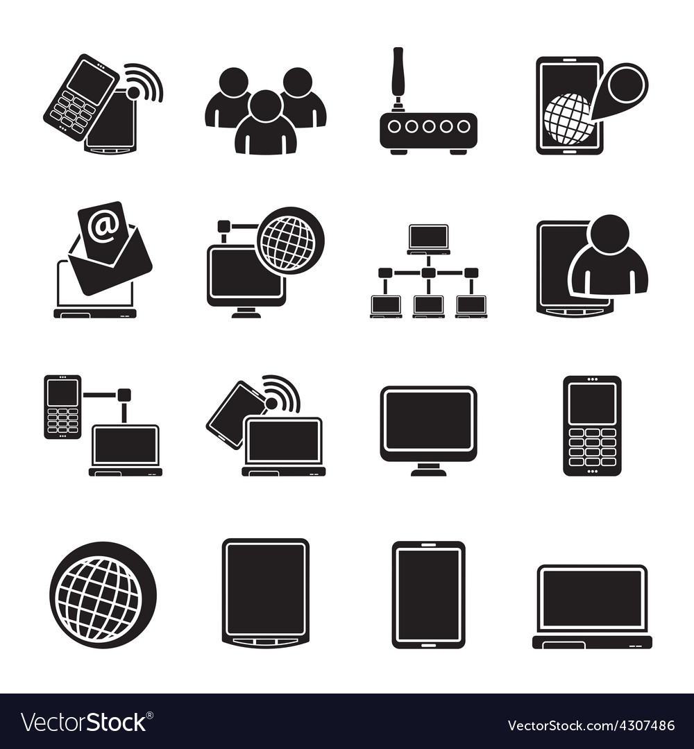 Silhouette communication and technology equipment vector | Price: 1 Credit (USD $1)