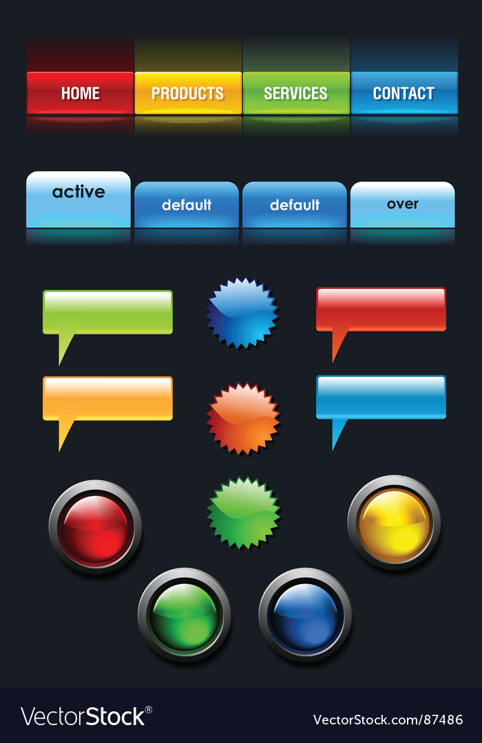 Web user elements set vector | Price: 1 Credit (USD $1)