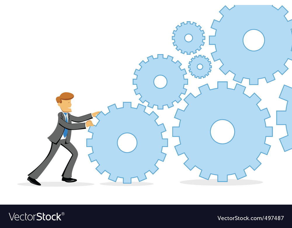 Businessman pushing cogs vector | Price: 1 Credit (USD $1)