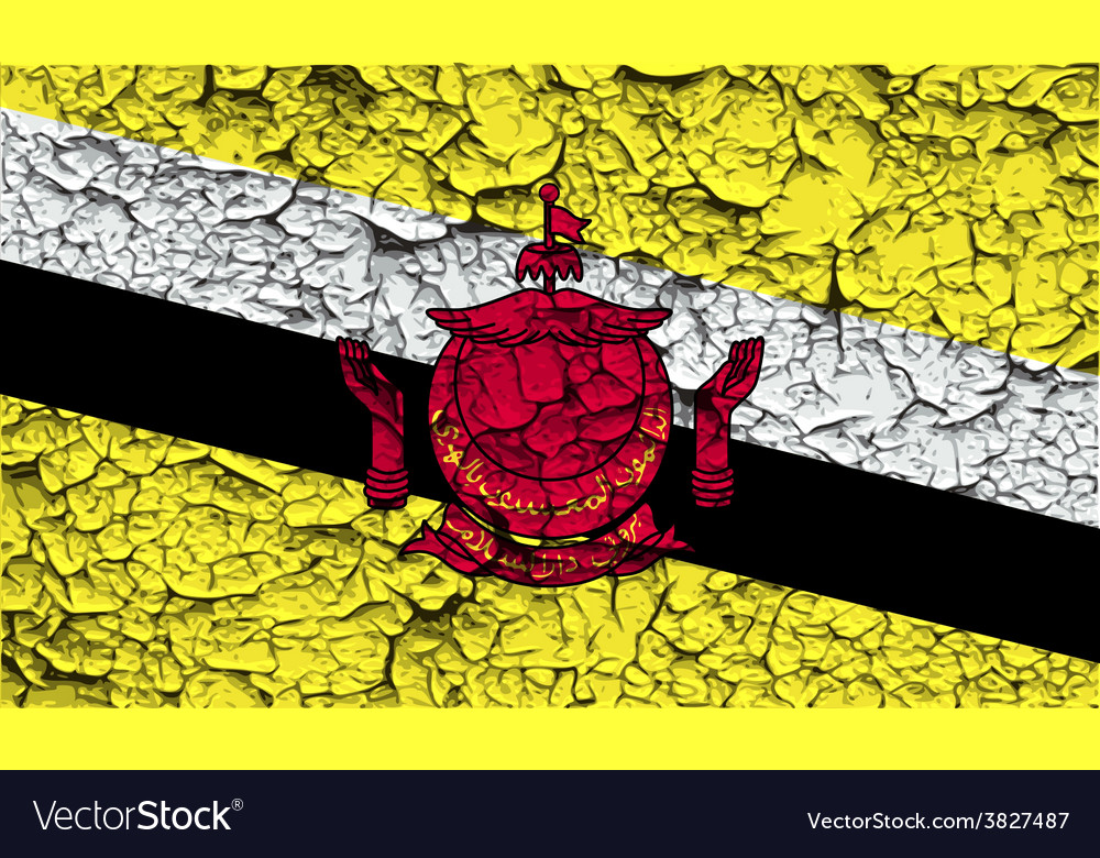 Flag of brunei with old texture vector | Price: 1 Credit (USD $1)