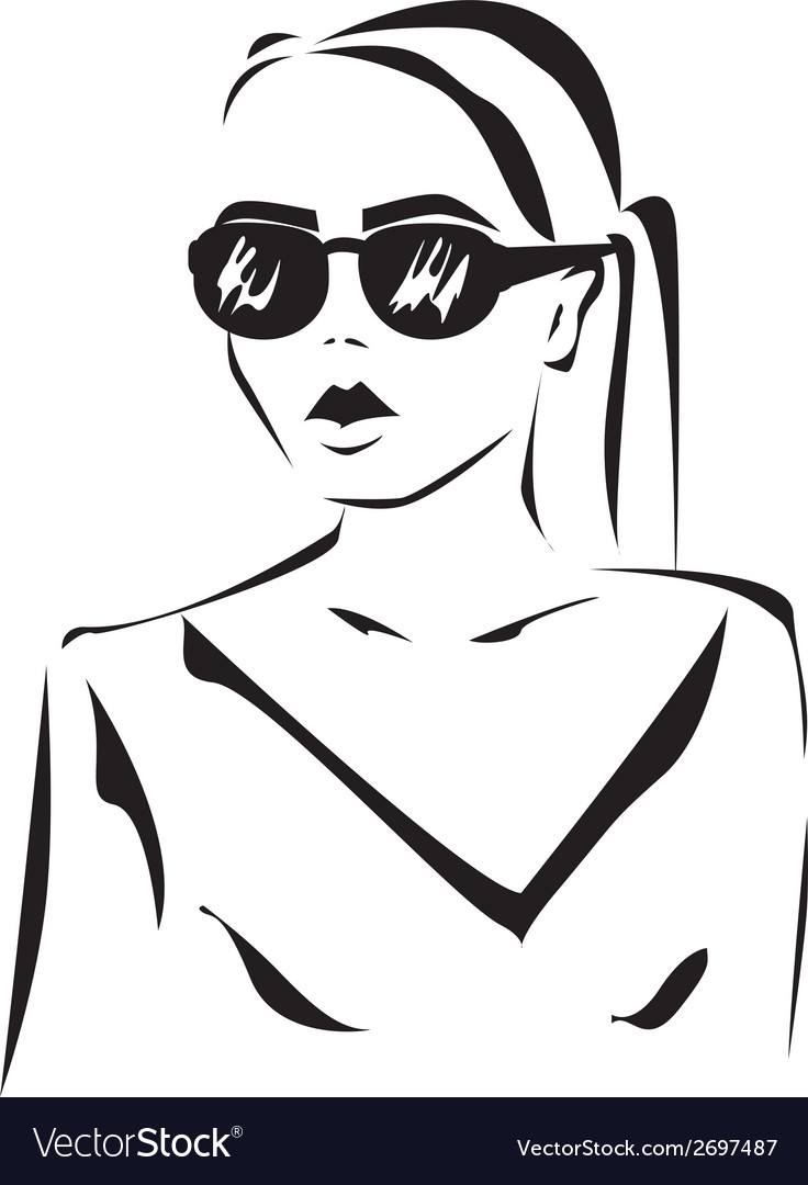 Girl in glasses vector | Price: 1 Credit (USD $1)
